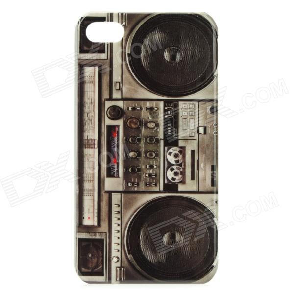 купить Retro Tape Recorder Style Protective PC Back Case for Iphone 4 / 4S - Black + Grey недорого