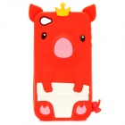 Cartoon Crown Piggy Style Protective Silicone Back Case for iPhone 4 / 4S - Red