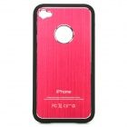 Protective Aluminum Alloy + PV Back Case w/ Screen Protector for iPhone 4 / 4S - Dark Pink + Black