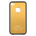 Protective Aluminum Alloy + PV Back Case w/ Screen Protector for iPhone 4 / 4S - Golden + Black