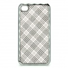 Protective Grid Pattern Plastic + Electroplating Back Case for iPhone - Grey + Silver