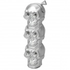 Cool LED Eyes Skull Heads Style Gas Lighter - Silver (3 x LR621)