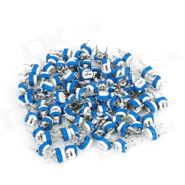 0.1W 50V Horizontal 502 5K Ohm Adjustable Resistor - Blue + White (100-Piece Pack)