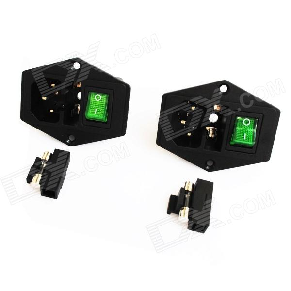 AC 250V 10A Power Socket Outlet with Fuse Base / Switch - Black + Green (2-Piece Pack) rt18 125am ac 690v 125a 3 poles 3p 22x58mm cylindrical fuse holder base