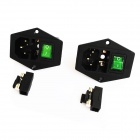 AC 250V 10A Power Socket Outlet with Fuse Base / Switch - Black + Green (2-Piece Pack)