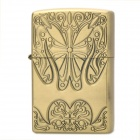 Stylish Flower Pattern Fluid Fuel Lighter - Golden