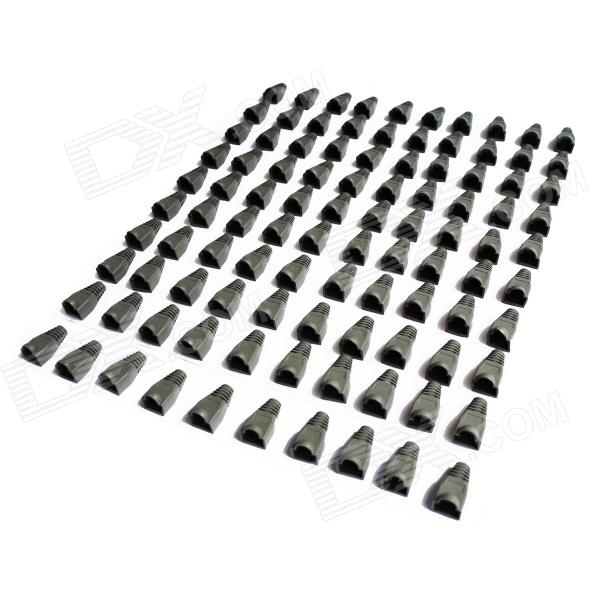 Network RJ45 String Crystal Head Sheath Cover - Grey (100-Piece Pack)