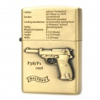 Cool 3D P38 Pistol Style Fluid Fuel Lighter - Golden