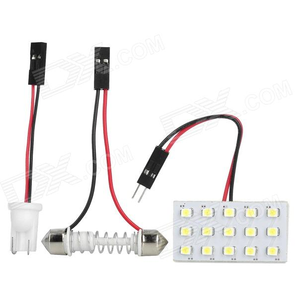 1W 15x1210 SMD LED Car White Dome / Door Light w/ T10 and Festoon 31~42mm Connectors 2014 new 2pcs 42mm festoon c10w plasma cob smd led canbus sv8 5 dome map trunk lights bulbs free shipping