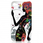 Pretty Girl Pattern Protective Plastic Back Case for Iphone 4 / 4S - Black + White