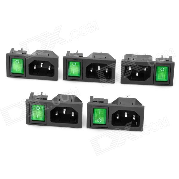 AC 250V 10A Flat Plug Power Socket Outlet with 4-Pin Rocker Switch (5-Piece Pack) 5 pcs ac 250v 10a spdt 1no 1nc 3 pin black red hot wind control button rocker switch for hair dryer