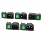 AC 250V 10A Flat Plug Power Socket Outlet with 4-Pin Rocker Switch (5-Piece Pack)