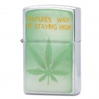 Leaf Pattern Fluid Fuel Lighter - Silver + Green