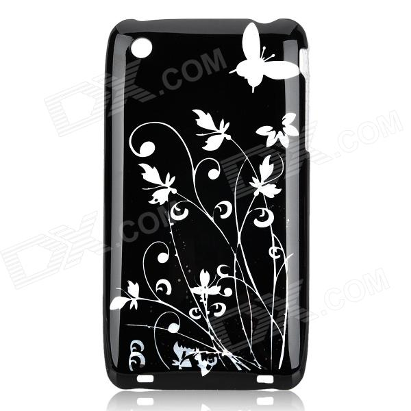 Iris Pattern Protective Plastic Back Case for Iphone 3g - Black + Silver iris pattern protective plastic back case for iphone 3g white
