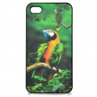 Protective Plastic Back Case w/ 3D Parrot for iPhone 4 / 4S - Green