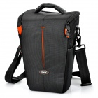 TONBA Nylon Water Resistant Camera Bag - Black + Orange (26 x 17 x 12cm)