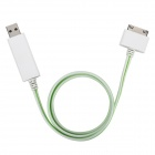 USB Data / Charging Cable with Visible EL Light for iPhone / iPad / iPod - White + Green