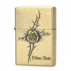 Cool 3D Rose Style Fluid Fuel Lighter - Golden