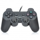 2-in-1 USB + PS2 Wired Shock Gaming Controller Joypad - Black