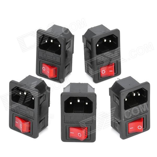 2-in-1 AC 250V 10A Flat Plug Power Socket Inlet w/ On/Off Rocker Switch / Fuse (5-Piece Pack)