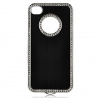 Elegant Protective Diamond Aluminum Alloy + PC Back Case for Iphone 4 / 4S - Black