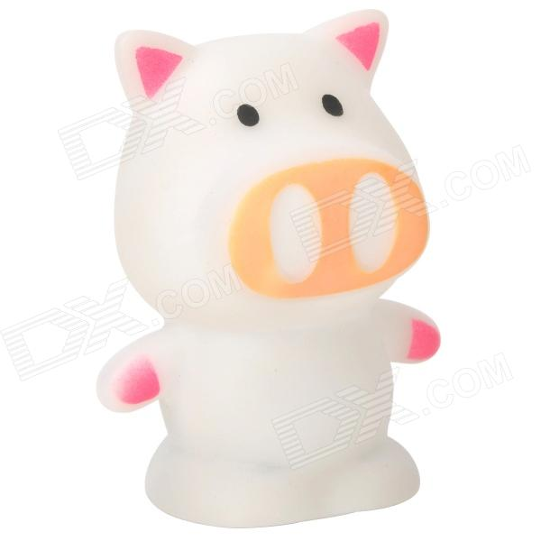 Cute Pig Style LED Night Lamp - White (3 x LR44)