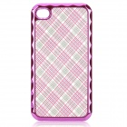 Protective Grid Pattern Plastic + Electroplating Back Case for Iphone Series - Deep Pink
