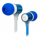 Stylish Metal In-Ear Earphone with Microphone - Blue + White