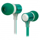 Stylish Metal In-Ear Earphone with Microphone - Green + White