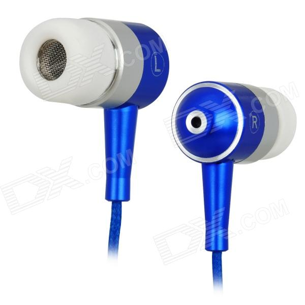 Unique In-Ear Earphone with Zipper Cord Design - Blue + White