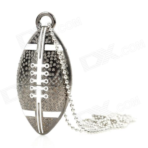 American Football Ball Style USB 2.0 Flash Drive - Dark Silver (16GB) cute slippers style usb flash drive with chain deep pink 16gb