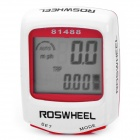 "1.5"" 14-Function Waterproof Wired Bike Computer Odometer Speedometer - White + Red"