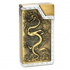 Cool Dragon Pattern Butane Gas Lighter - Golden + Silver