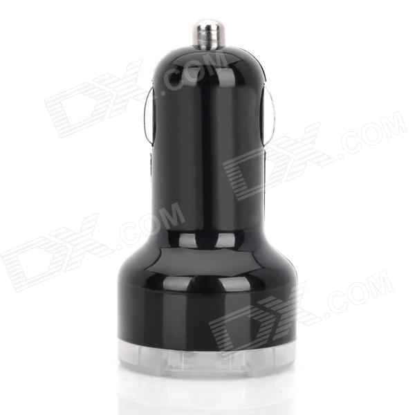 Mini Car Cigarette Powered Dual USB Adapter / Charger for Ipad / Samsung P1000 - Black (DC 12~24V)