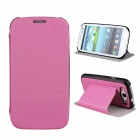 Protective ABS Plastic + PU Leather Foldable Holder Case for Samsung i9300 - Pink