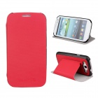 Protective ABS Plastic + PU Leather Foldable Holder Case for Samsung i9300 - Red