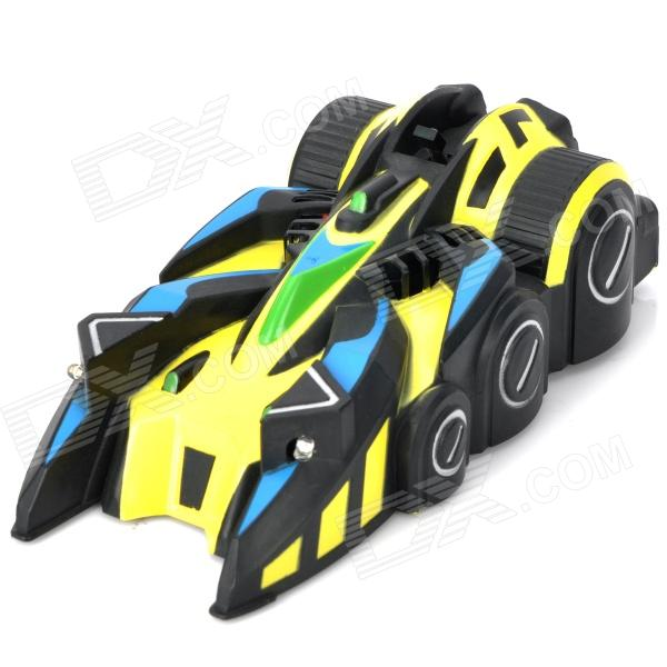 9099-20E R/C 4-Channel IR Controlled Wall Climber Vehicle Model Toy - Yellow + Blue + Black 9099 20e r c 4 channel ir controlled wall climber vehicle model toy yellow blue black