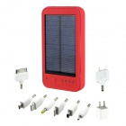 5000mAh Portable Solar Powered Mobile Power Battery Charger w/ 1-LED Flashlight / 8 x Adapters - Red
