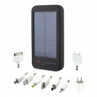 5000mAh Portable Solar Powered Mobile Power Battery Charger w/ 1-LED Flashlight / 8 Adapters - Black