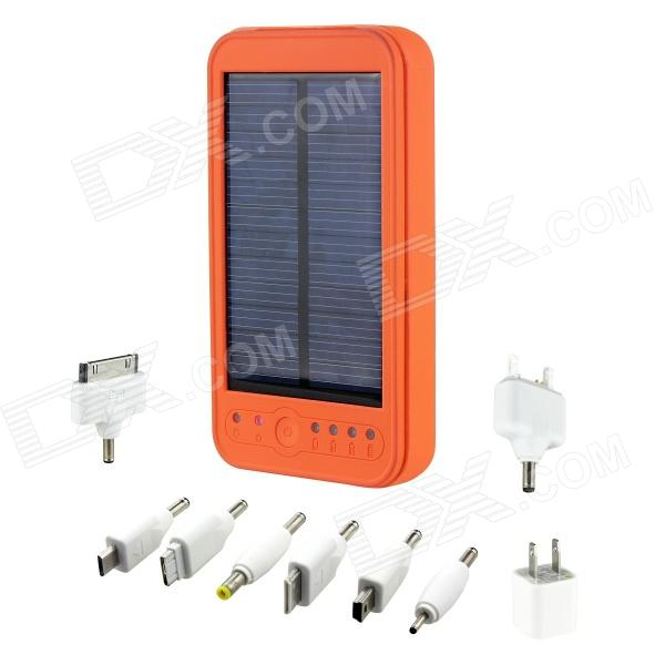 5000mAh Portable Solar Powered Mobile Power Battery Charger w/ LED Flashlight / 8 Adapters - Orange