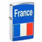 Stylish France National Flag Image Pattern Oil Lighter - Blue + Silver