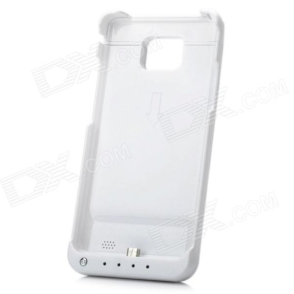 Rechargeable 2800mAh External Power Battery Back Case for Samsung Galaxy S II i9100 - White