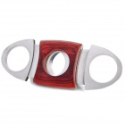 Portable Steel Cigar Cutter Knife - Silver + Burgundy