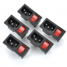 3-Pin Power Adapter Socket with Rock Switch for DIY Project - Black + Red (5-Piece Pack)