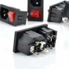 3 Pin-Socket Power Adapter com Rock Switch para DIY projeto - preto + vermelho (5-Piece Pack)