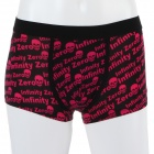 Men's Soft Skull Pattern Energy Boxer Underwear - Black + Red (Size-M)