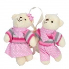 Cute Bear Couple Style Curtain Buckles - White + Pink (Pair)