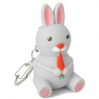 Lovely Cartoon Rabbit Style Keychain w/ Sound Effect / LED Flashlight - Grey