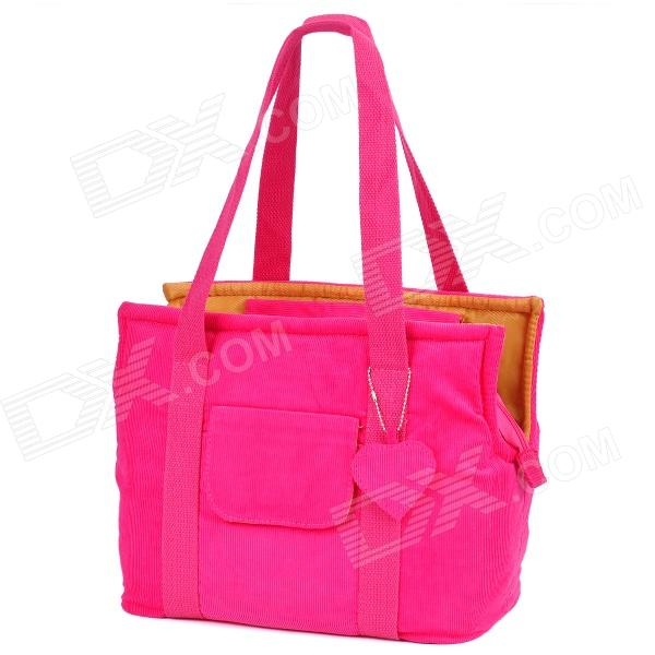 Portable Corduroy Pet Tote Bag - Deep Pink