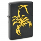 Scorpion Pattern Windproof Kerosene Oil Lighter - Black